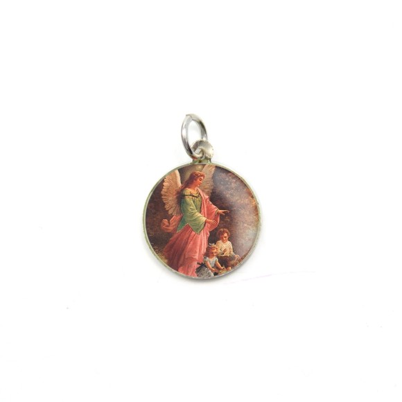 MD090010P5 - Medalha Anjo da Guarda Alumínio Redonda c/ 5un. - 1,5x1,5cm