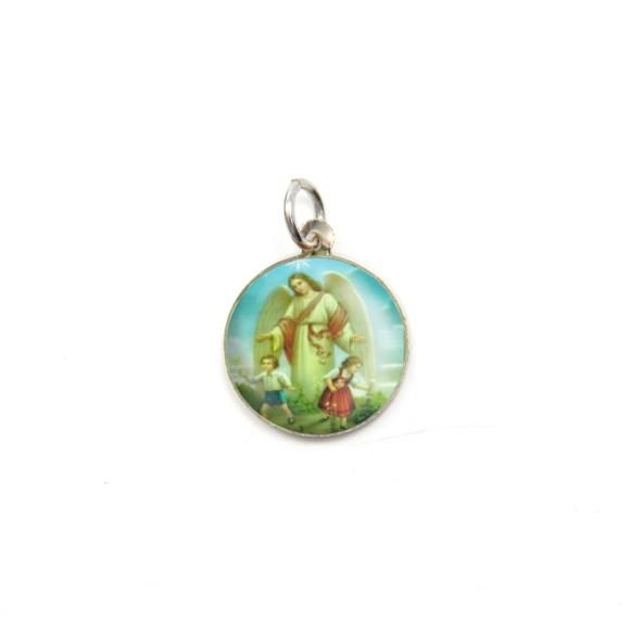 MD090015P5 - Medalha Anjo da Guarda Alumínio Redonda c/ 5un. - 1,5x1,5cm