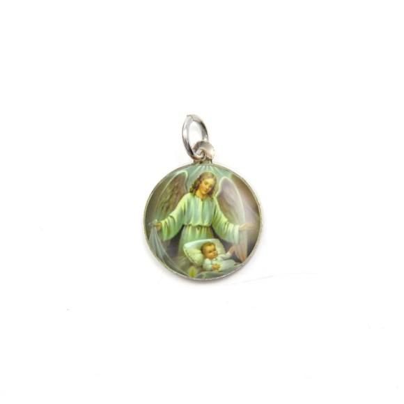 MD090017P5 - Medalha Anjo da Guarda Alumínio Redonda c/ 5un. - 1,5x1,5cm
