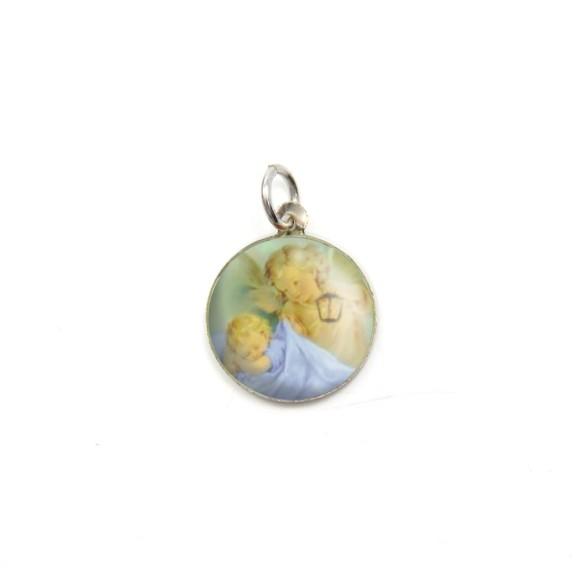 MD090024P5 - Medalha Anjinho Alumínio Redonda c/ 5un. - 1,5x1,5cm