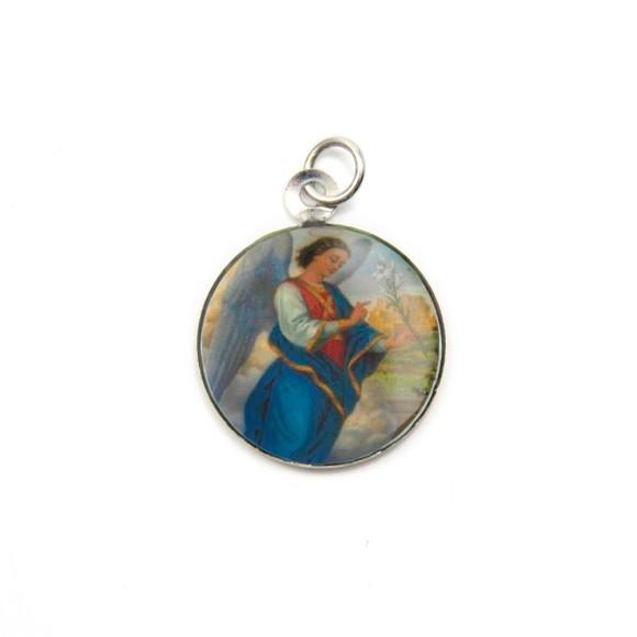 MD090002P3 - Medalha São Gabriel Arcanjo Alumínio Redonda c/ 3un. - 2,5x2cm