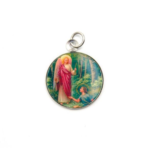 MD090006P3 - Medalha São Rafael Arcanjo Alumínio Redonda c/ 3un. - 2,5x2cm