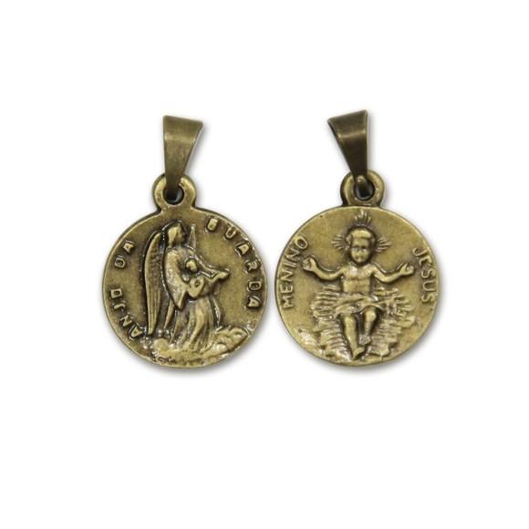 MD091001P6 - Medalha Anjo e Menino Jesus Ouro Velho c/ 6un. - 2,2x1,4cm