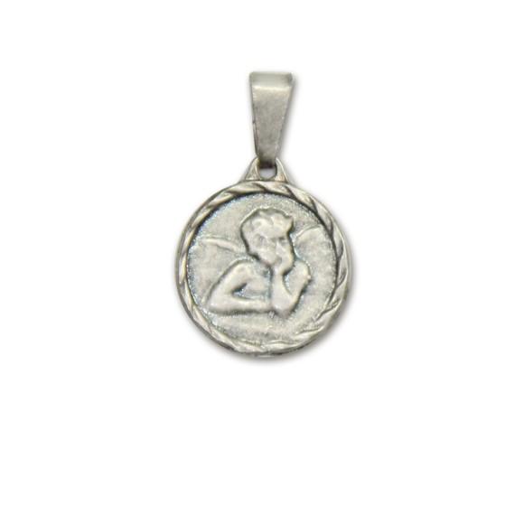 MD091021P6 - Medalha Anjo Pensador Níquel Envelhecido c/ 6un. - 1,5x1,4cm