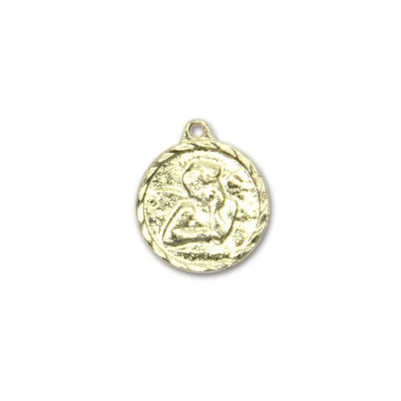 MD091022P6 - Medalha Anjo Pensador Dourado c/ 6un. - 1,5x1,4cm