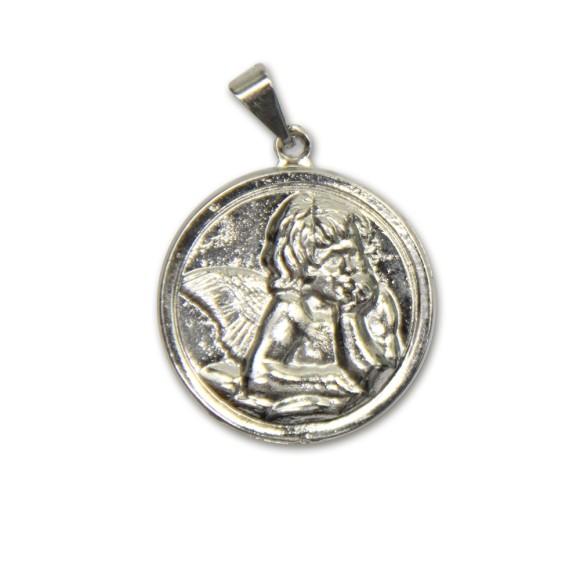 MD091030 - Medalha Anjo Pensador Níquel - 4,2x2,9cm