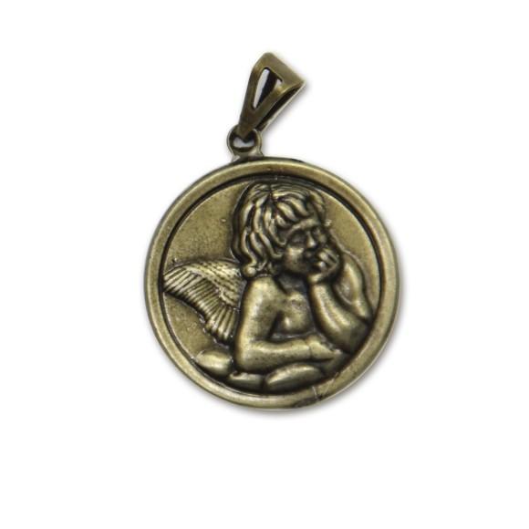 MD091032 - Medalha Anjo Pensador Ouro Velho - 4,2x2,9cm