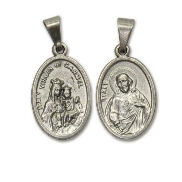 MD831010P2 - Medalha N. Sra. Do Carmo e Sagrado Coração de Jesus Metal Oval c/ 2un. - 2,5x1,7cm