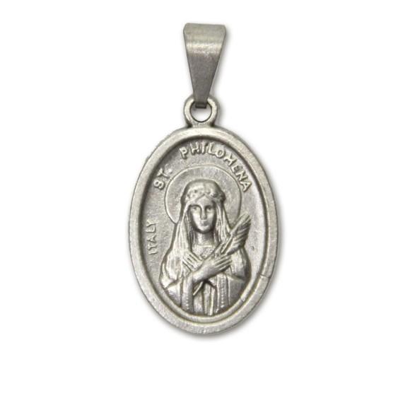 MD831007P2 - Medalha Santa Filomena Metal Oval c/ 2un. - 2,5x1,7cm