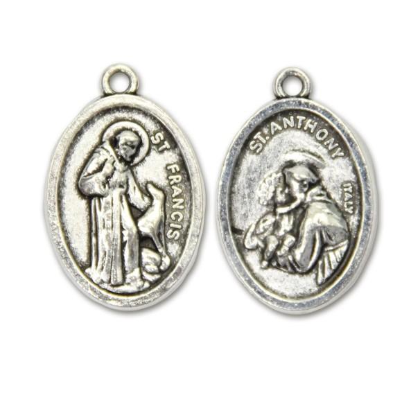 MD831203P2 - Medalha São Francisco de Assis e Santo Antônio Metal Oval c/ 2un. - 2,5x1,7cm
