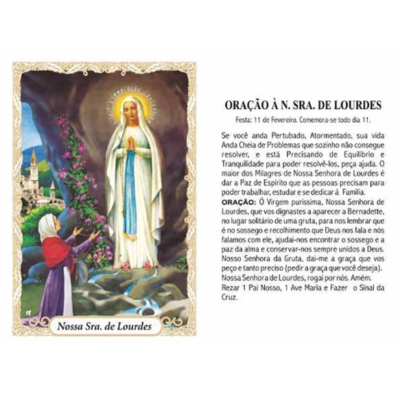 OG14056P100 - Oração N. Sra. De Lourdes c/ 100un. - 9,5x6,5cm