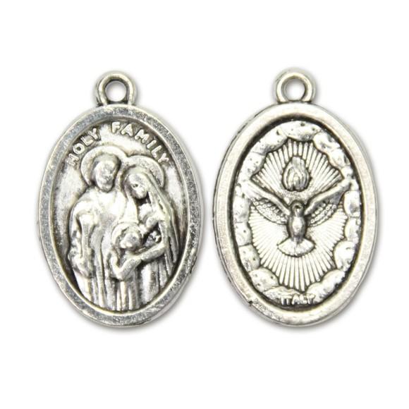 MD831402P2 - Medalha Sagrada Família e Divino Espírito Santo Metal Oval c/ 2un. - 2,5x1,7cm