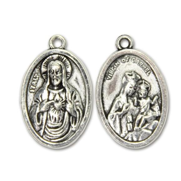 MD831011P2 - Medalha N. Sra. Do Carmo e Sagrado Coração de Jesus Metal Oval c/ 2un. - 2,5x1,7cm
