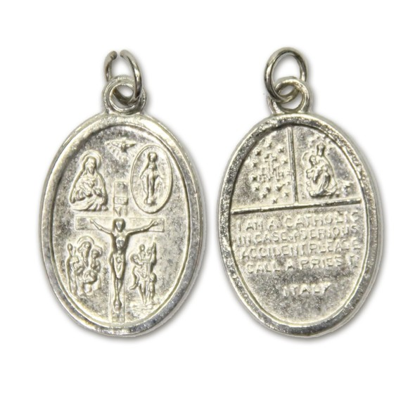 MD831420P2 - Medalha Católica (Multi Santos) Metal Oval c/ 2un. - 2,5x1,7cm