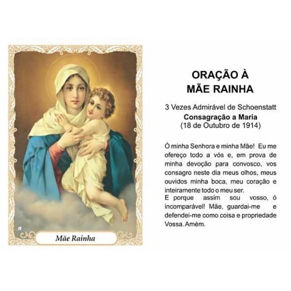 OG14060P100 - Oração Mãe Rainha c/ 100un. - 9,5x6,5cm