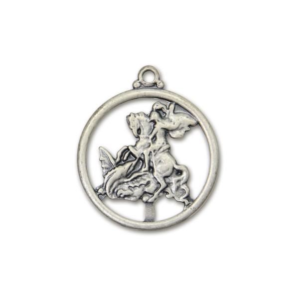 MD830436 - Medalha São Jorge Níquel Envelhecido - 4,5x3,8cm