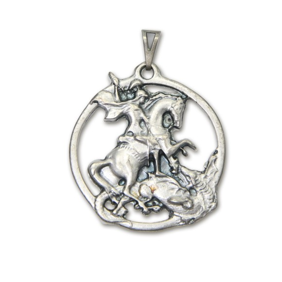 MD830446 - Medalha São Jorge Níquel Envelhecido - 4,8x4,4cm