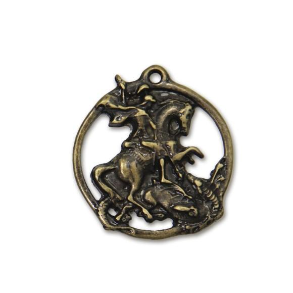 MD830447 - Medalha São Jorge Níquel Ouro Velho - 4,8x4,4cm