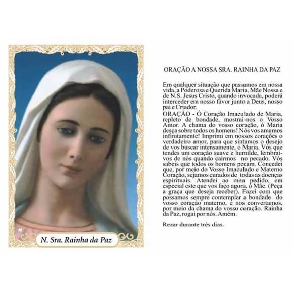 OG14074P100 - Oração N. Sra. Rainha da Paz c/ 100un. - 9,5x6,5cm