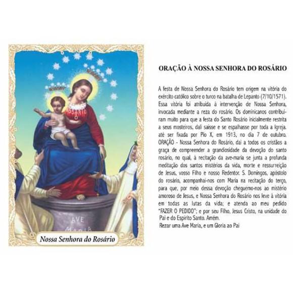OG14079P100 - Oração N. Sra. Do Rosário c/ 100un. - 9,5x6,5cm