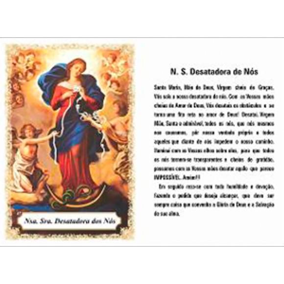 OG14088P100 - Oração Nossa Senhora Desatadora de Nós c/ 100un. - 9,5x6,5cm