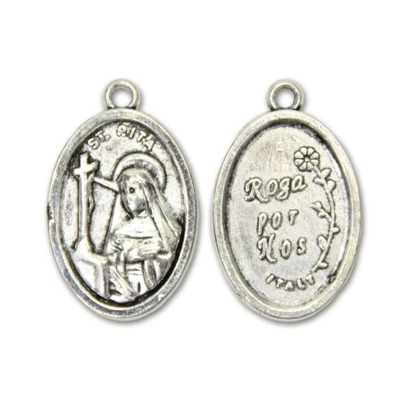 MD831008P2 - Medalha Santa Rita de Cássia Metal Oval c/ 2un. - 2,5x1,7cm