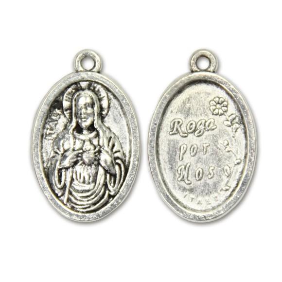 MD831200P2 - Medalha Sagrado Coração de Jesus Metal Oval c/ 2un. - 2,5x1,7cm