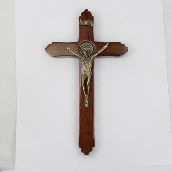 CW760140 - Crucifixo São Bento Madeira - 20x11cm