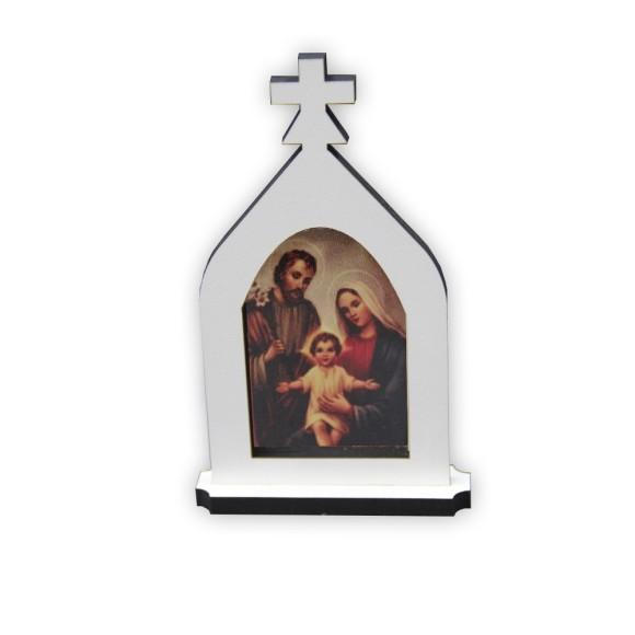 CP81275 - Capela Sagrada Família MDF Branco - 15x9cm
