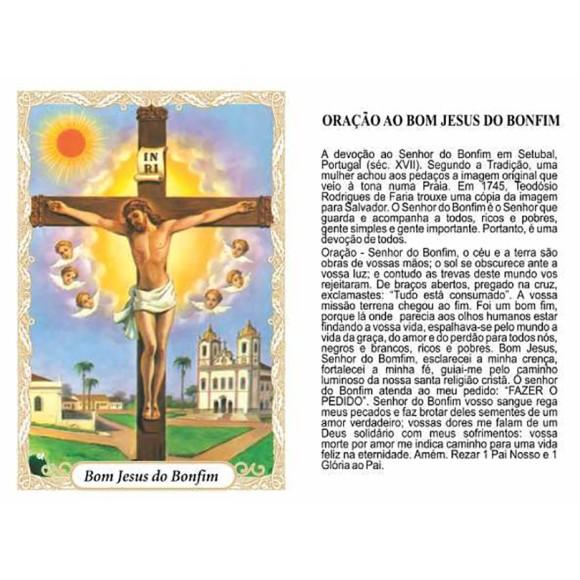 OG141426P100 - Oração Bom Jesus do Bonfim c/ 100un. - 9,5x6,5cm