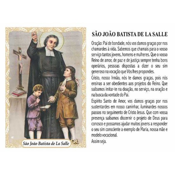 OG141430P100 - Oração São João Batista de La Salle c/ 100un. - 9,5x6,5cm