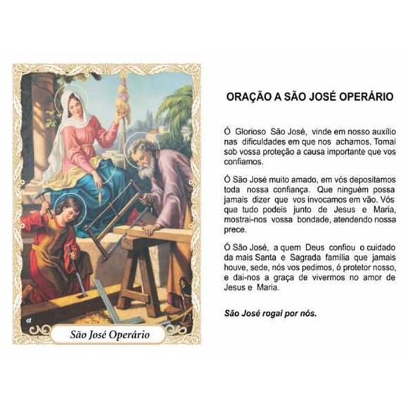 OG141435P100 - Oração São José Operário c/ 100un. - 9,5x6,5cm