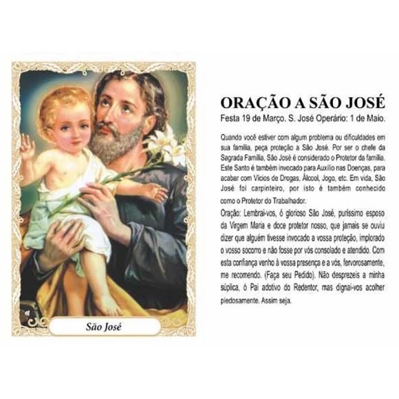 OG141436P100 - Oração São José c/ 100un. - 9,5x6,5cm