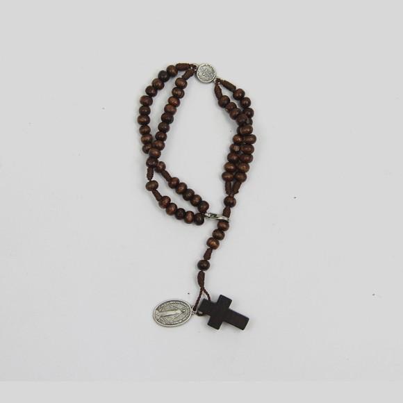 PU1540431 - Pulseira Terço N. Sra. Das Graças Madeira - 22x1,3cm