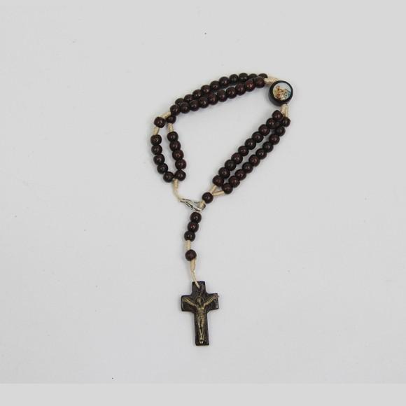 PU1540826 - Pulseira Terço Sagrada Família Madeira - 22x1,8cm