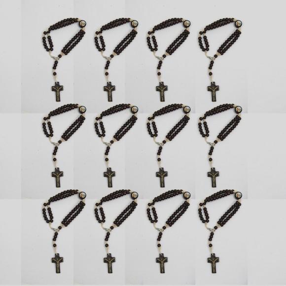 PU1540826P12 - Pulseira Terço Sagrada Família Madeira c/ 12un. - 22x1,8cm