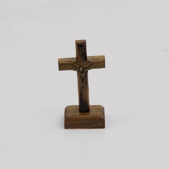 CU760020 - Pedestal Cruz Madeira - 9,5x4,5cm