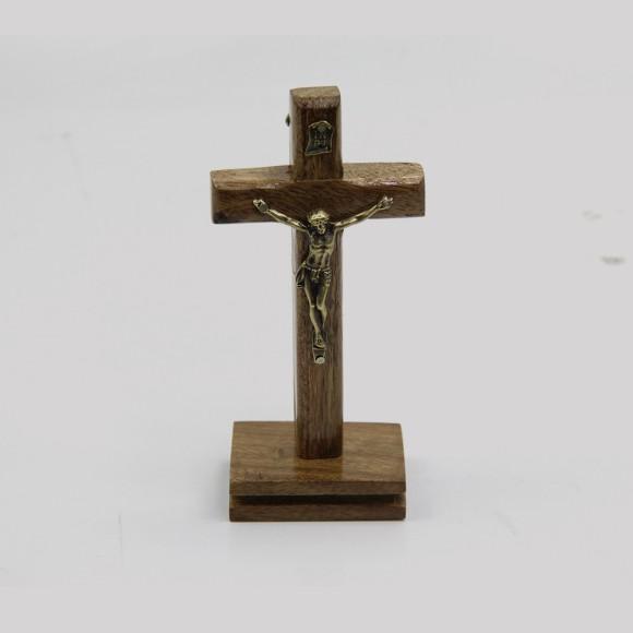 CU760030 - Pedestal Cruz Madeira - 13,5x6,5cm