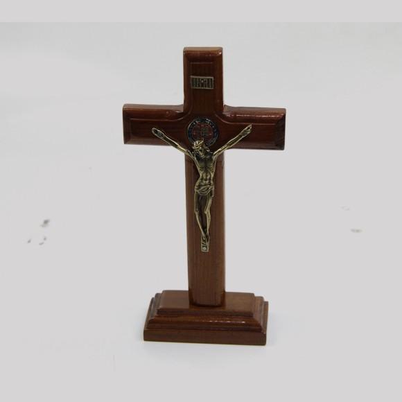 CU760040 - Pedestal São Bento Cruz Madeira - 19x10cm