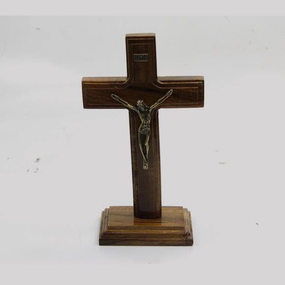 CU760060 - Pedestal Cruz Madeira - 22x10cm