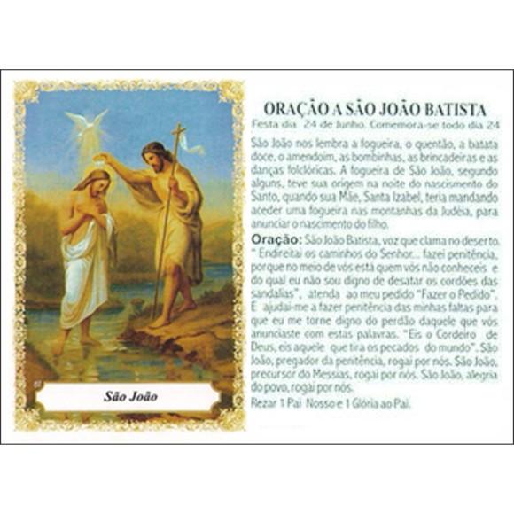 OG141459P100 - Oração São João Batista c/ 100un. - 9,5x6,5cm