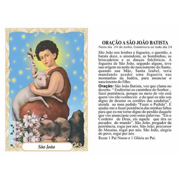 OG141460P100 - Oração São João Batista c/ 100un. - 9,5x6,5cm