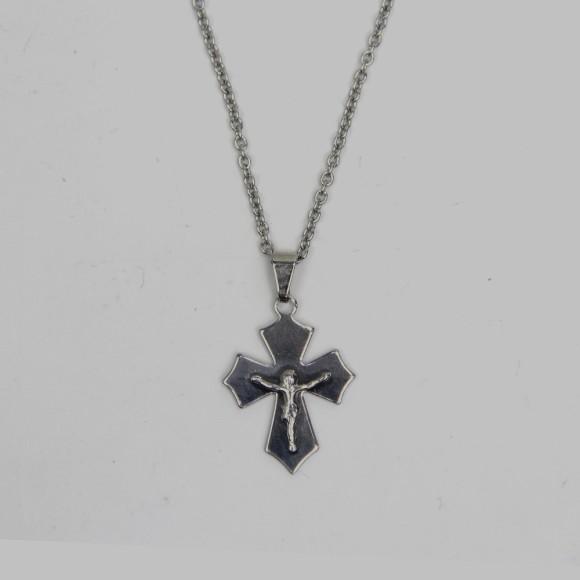 CO03100 - Colar Crucifixo Aço Inox - 31,5x2,3cm