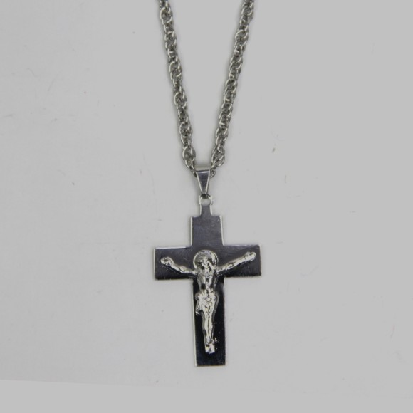 CO03110 - Colar Crucifixo Aço Inox - 34x2,6xcm