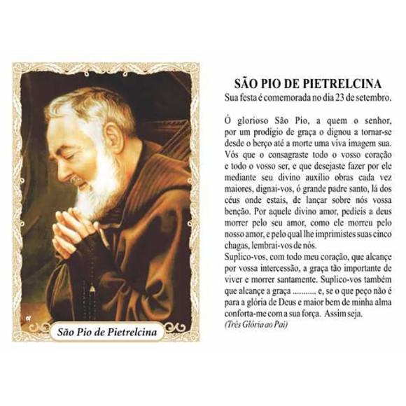 OG141474P100 - Oração São Pio de Pietrelcina c/ 100un. - 9,5x6,5cm