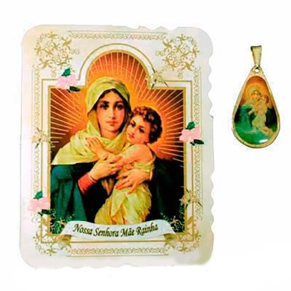 CM14001 - Cartão Mãe Rainha c/ Medalha - 7,5x6cm