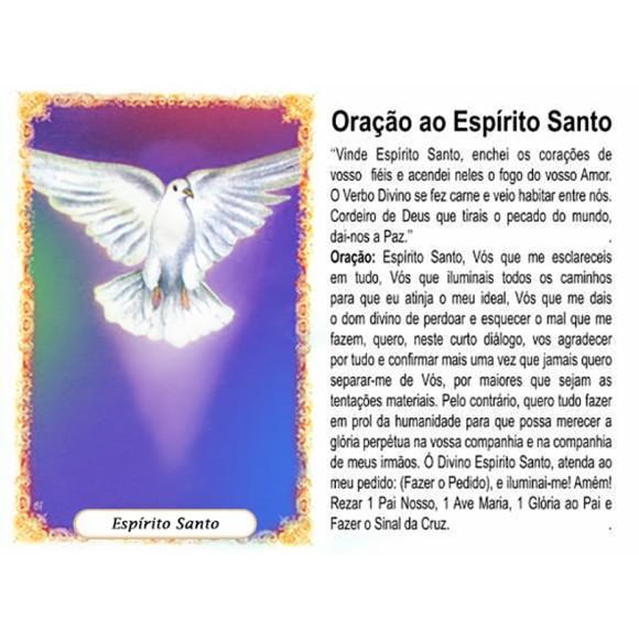 OG41807P100 - Oração Espírito Santo Azul c/ 100un. - 9,5x6,5cm