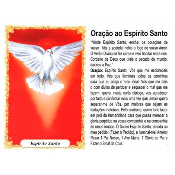 OG41808P100 - Oração Espírito Santo Vermelho c/ 100un. - 9,5x6,5cm