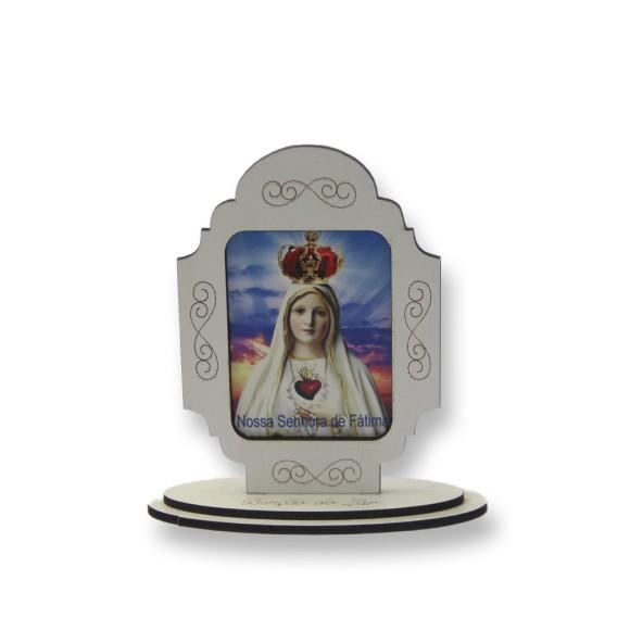 AO290003 - Pedestal N. Sra. De Fátima MDF Branco - 12x11cm