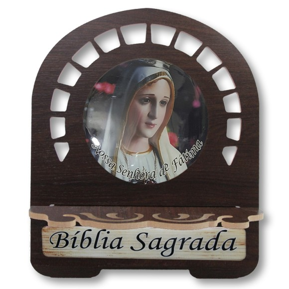 PB812300 - Porta Bíblia N. Sra. de Fátima MDF Resinado - 30,5x25,5cm